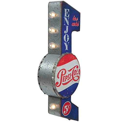 Pepsi-Cola Reproduction Vintage Advertising Sign - Battery Powered LED Lights, Double Sided Metal Wall Mounted - 30 x 10 x 4 inches