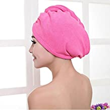 AIMTOPPY Microfiber Bath Towel Hair Dry Hat Cap Quick Drying Lady Bath Tool (Hot Pink)