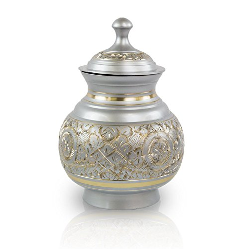 OneWorld Memorials Timeless Etch Bronze Pet Urn - Small - Holds Up to 40 Cubic Inches of Ashes - Etched Silver Pet Cremation Urn for Ashes - Engraving Sold Separately by OneWorld Memorials