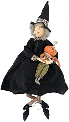 GALLERIE II Marleigh Witch and Pumpkin Joe Spencer Gathered Traditions Art Doll Black