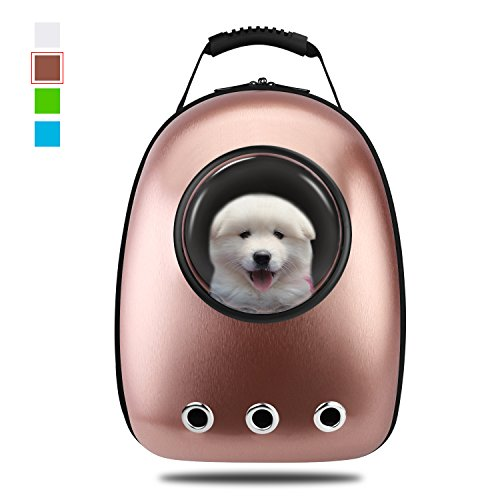 Gold Pet Carrier - Anzone Cat Space Capsule Carrier Backpack, Pet Bubble Window Tote Bag Portable Lightweight Travel Handbag for Cats Petite Dogs & Small Animals- Coffee,30L