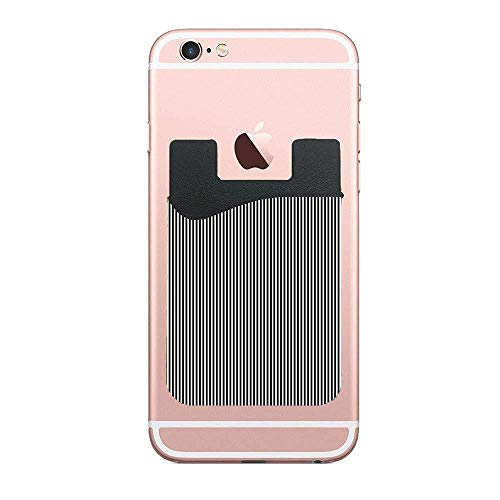 (TysoOLDPhoneC Black and White Pinstripe Card Secure Holder Stick on PU Wallet Pouch Support iPhone Or Android Smartphones)