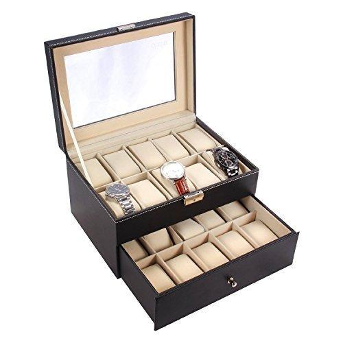 Ohuhu® 20-Slot Leder Uhrkasten Uhrenkiste Uhrbox Uhrenschatulle Uhr Organiser Uhrenkoffer mit Metallverschluß-Weihnachtsgeschenk