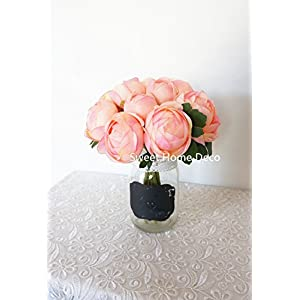 Sweet Home Deco 9'' Soft Silk Ranunculus Flower Bouquet (10 Stems/10 Flower Heads) Wedding/Home Decorations (Peach) 4