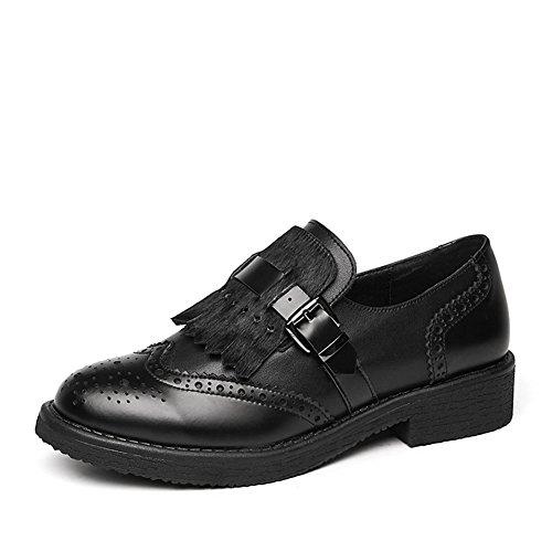 Loafers Sko For Kvinner, Metallspenne Dusk Slip On Perforert Rund Tå Oxford Svart