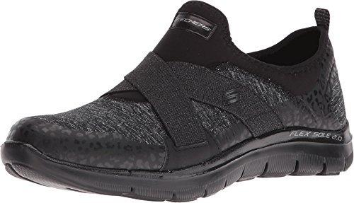 Skechers Women's Flex Appeal 2.0 - Fashion Frenzy Athletic Shoe (Black, Size 7)