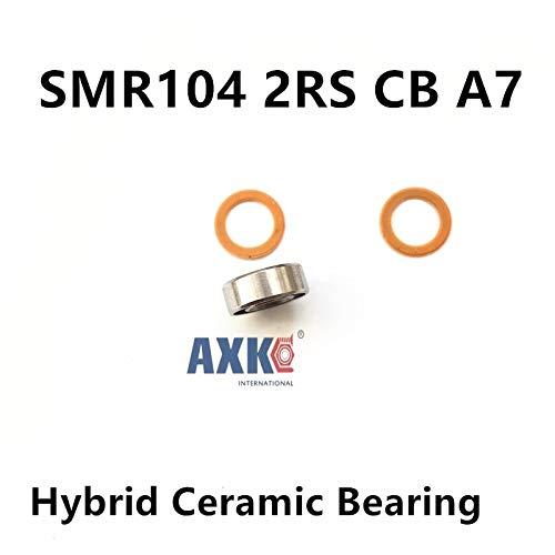 (Ochoos SMR104 2RS CB 4x10x4 Ceramic Bearings Stainless Steel Hybrid Ceramic Ball)