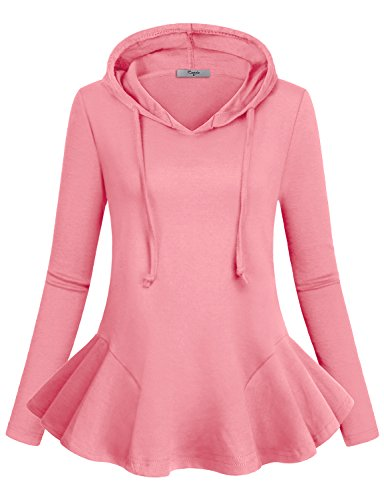 Casual Tunic Tops, Cestyle Women Jerseys Sweatshirts Full Sleeve Frills Cool Design Church Grace Fancy Elegant Awesome Shirts Hoodie Athleisure Blouson Blouse Pink M