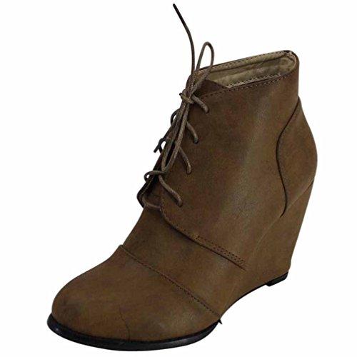 NUOVE Clarks Softwear Beige Marrone Chiaro in Pelle con Zeppa Stringati Scarpe Stivali Stivaletti Scarpa 7