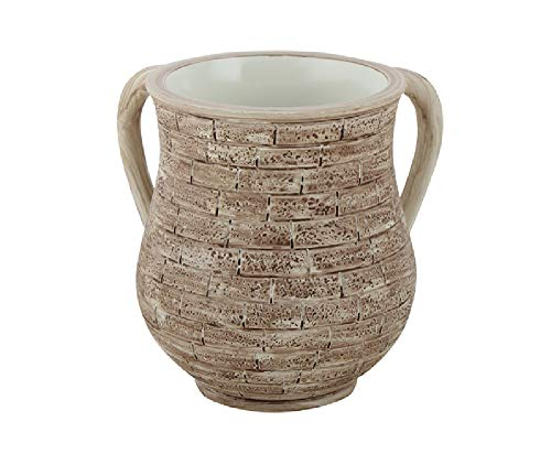 2-Handled Polyresin Washing Cup for Ritual Hand Washing (Jerusalem Stones)