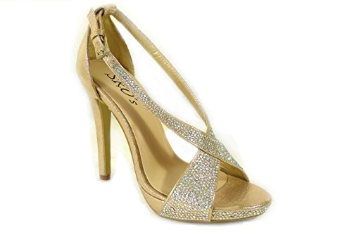 Size 04 Mid Wedding Low 191 High Diamante Womens SKO'S Shoes Court Bridal Ladies Gold Heel Prom wqZxS7R