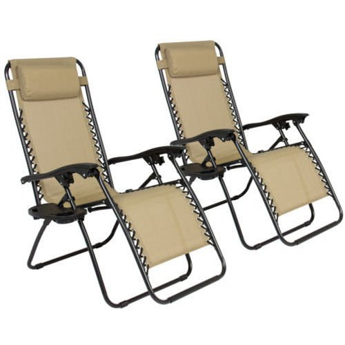 Z ZTDM 2 Pack Khaki Adjustable Folding Zero Gravity Recliner Chairs Lounge Deck Chair With Pillow & Cup Holder for Patio Outdoor Yard Beach