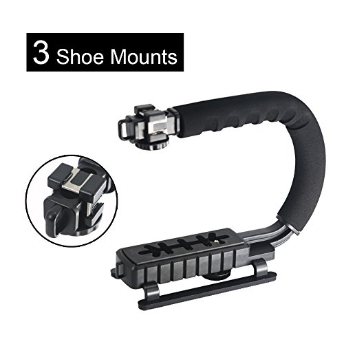 SH SHIHONG U-Grip Handle 3 Shoe Mounts Video Action Stabilizing Handle Grip Rig with 1/4