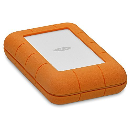 LaCie Rugged Thunderbolt USB-C 4TB Portable Hard Drive STFS4000800 and Ivation Compact Portable Hard Drive Case (Large)