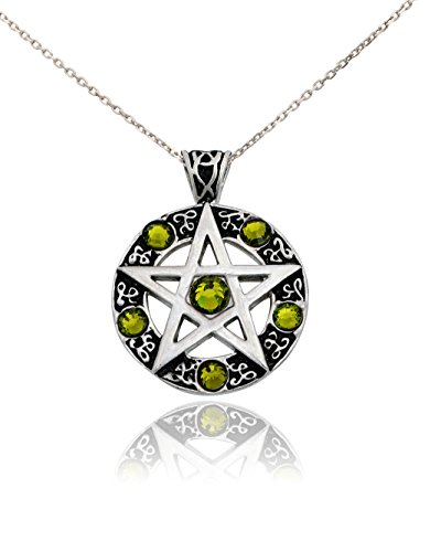 Vietguild Peridot Green Pentagram Silver Pewter Charm Necklace Pendant Jewelry