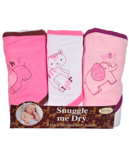 Girl Frenchie Mini Couture 3 Pack Wild Animal Hooded Bath Towel Set