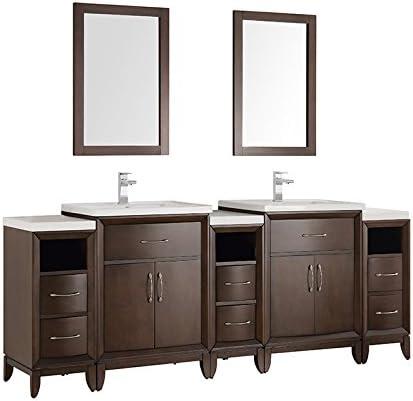 Fresca Cambridge 84″ Antique Coffee Double Sink Traditional Bathroom Vanity w/Mirror