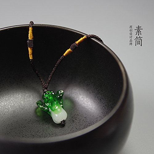 usongs Ancient glass necklace pendant handmade cute green cabbage jade cabbage fiscal implication one hundred Lucky Hannanecklace pendant necklace