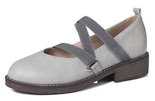 Aisun Womens Comfort Strappy Punta Arrotondata Low Cut Tacco Grosso Slip On Pumps Shoes Grigie