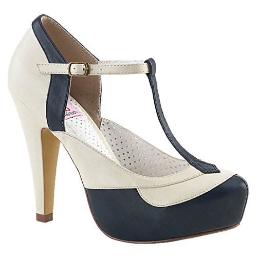 Up Faux Leather Pin 29 Bettie Couture Navy cream Blue D2EeH9YWIb