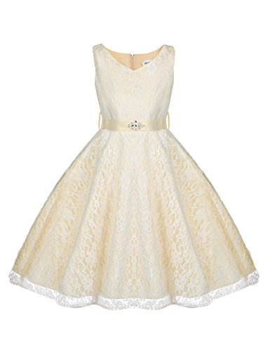 champagne and ivory flower girl dresses - 5