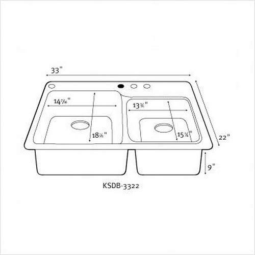 Swanstone KS03322DB.037 Solid Surface 1-Hole Dual Mount Double-Bowl Kitchen Sink 33-in L X 22-in H X 9-in H Bone