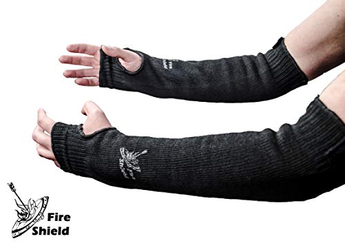(Heat and Cut Resistant Arm Sleeves | 22 inches long with Thumb and Finger Holes | Washable, Flexible, Durable | Full Arm Protection for Cooks & Mechanics | by FIRE SHIELD)
