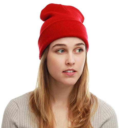 THE HAT DEPOT Made in USA Skull Beanie Hat (Red) -