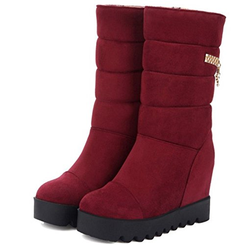 COOLCEPT Damen Ohne Verschluss Stiefel Height Increasing Red
