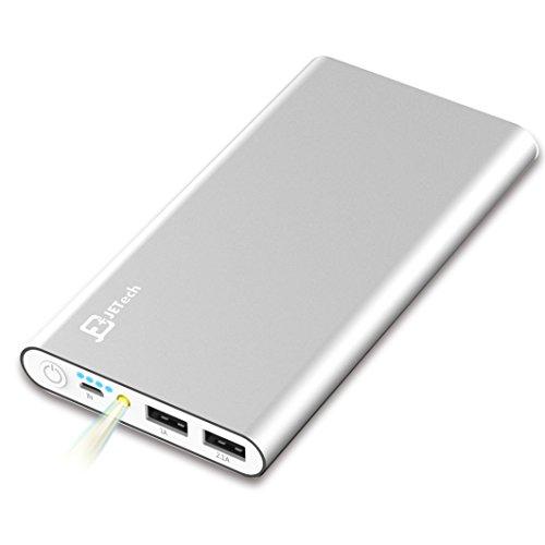 Externer Akku, JETech 10000mAh Ultra Kompakt Dual USB Ausgang Portable Power Bank Externer Akku Ladegerät für iPhone 6/5/4, iPad, iPod, Samsung Geräte, Smartphones, Tablet-PCs (Silber) - 0761