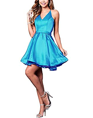 Women's V Neck Satin Lace Short Homecoming Dresses Prom Cocktail Dresses