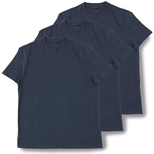 PRADA プラダ UJM492 ILK F0124 3枚セット パックT 無地 半袖 Tシャツ カットソー クルーネック 丸首 NAVY [並行輸入品] B079BSFLPQ L|NAVY/ネイビー NAVY/ネイビー L