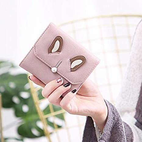 Color : Green LanDream New Wallet Female Short Paragraph Cute Student Bunny Ears Girl Heart Wallet Women Purse Color : Black