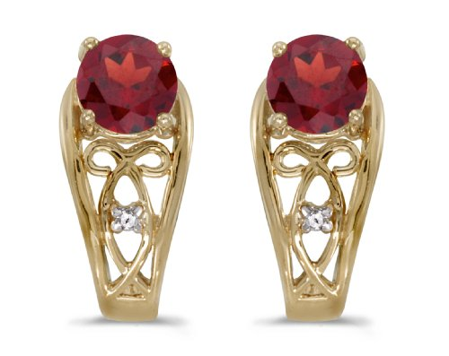 5mm Round Garnet Post Earrings - 1.00 Carat (ctw) 14k Yellow Gold Round Red Garnet and Diamond Fancy Filigree Stud Earrings with Post with Friction Back (5 MM)