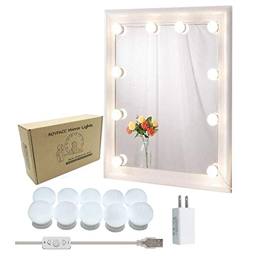 ROYFACC Vanity Mirror Light Kit for Makeup Hollywood Style with 10 LED Mirror Lights Bulbs, Brightness Dimmable, US Plug, Mirror Not Include