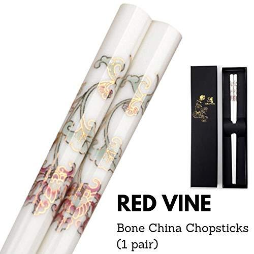 LeBlue 1 Pair Red Vine Bone China Chinese Reusable Dishwasher Safe Chopsticks GIFT SET