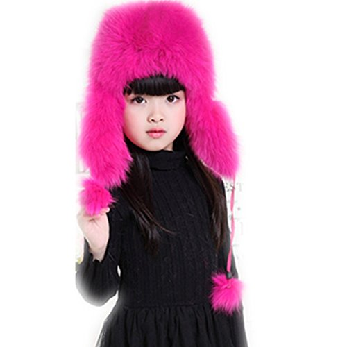 qmfur Womens Winter Hat Genuine Fox Fur Russian Trapper Ushanka Hats with Pom Poms (rose) - Russian Hat Ushanka Women