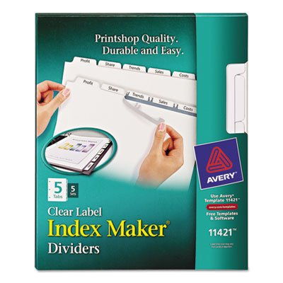 Avery - Index Maker White Dividers for Copiers, Five-Tab, Letter, Clear, Five Sets/Pack - Pack of 10