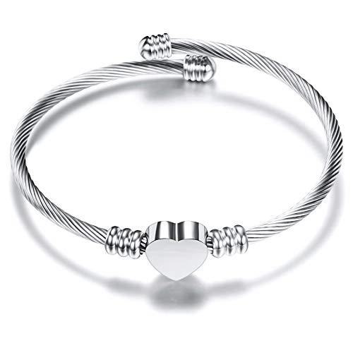 Qindishijia Fashion Women Stainless Steel Woven Adjustable Love Heart Bracelet 6.5inch (Silver)]()