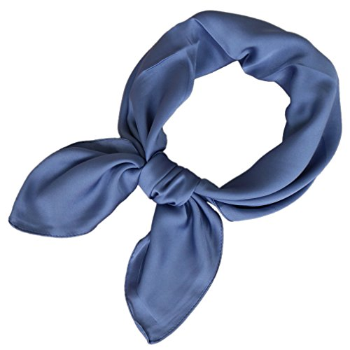 Square Inches - LMVERNA square satin scarf for women solid color Ribbon scarves 27 by 27 Inch(Blue)