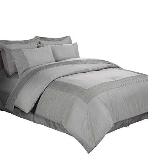 California King Plaid Bedskirt - Chezmoi Collection 8 Piece Pleated Hem Solid Bed-in-a-Bag Comforter Set, California King, Gray