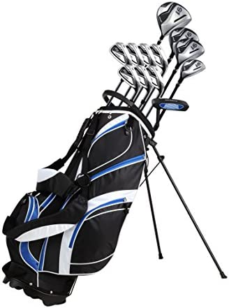 18 Piece Men s Complete Golf Club Package Set With Titanium Driver, 3 5 Fairway Woods, 4 Hybrid, 5-SW Irons, Putter, Stand Bag, 4 H C s – Choose Color Size