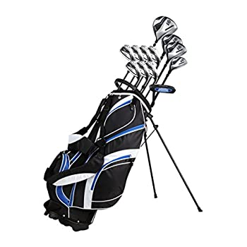 Image of 18 Piece Men's Complete Golf Club Package Set With Titanium Driver, #3 & #5 Fairway Woods, #4 Hybrid, 5-SW Irons, Putter, Stand Bag, 4 H/C's - Choose Color & Size Golf