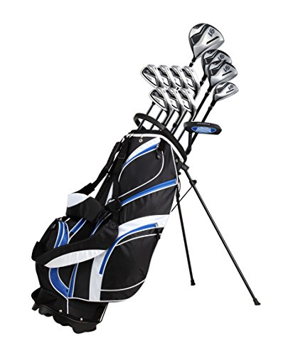 - 18 Piece Men's Complete Golf Club Package Set With Titanium Driver, #3 & #5 Fairway Woods, #4 Hybrid, 5-SW Irons, Putter, Stand Bag, 4 H/C's (Blue, Regular Size)