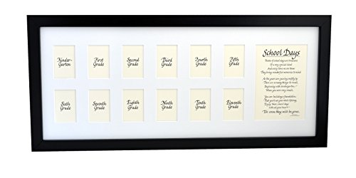Rustic Red Door Co School Picture Frame - 10x24 Black Frame, White Mat with Classic Verse, School Days Frame, School Years Frame, School Photo Frame, K-12 Frame, American Made, Solid Wood
