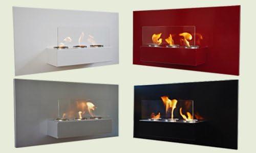 Gel y etanol chimenea acero de pared Rabea Deluxe Blanco vidrio de seguridad