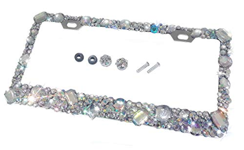 - CRYSTAL RIDERS Bling License Plate Frame with Crystals Ab Iridescent Clear Metal Chrome Zink Alloy Screw Cover Cap Holder Sparkly Sparkle Custom Hand Made Hand Crafted