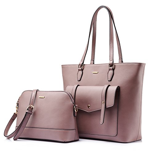 Women Top Handle Satchel Handbags Shoulder Bag Tote Purse Set Shell Bag Travel Bag 2 Pieces Taro Purple
