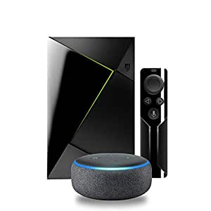 Echo Dot (3rd Gen) - Charcoal Fabric Bundle with NVIDIA Shield TV | 4K HDR Streaming Media Player