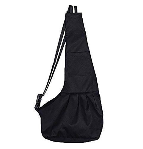 abcGoodefg Reversible Dog Cat Pet Sling Carrier Shoulder Bag | Pouch Bag Handbag for Dog Cat similar small Medium Pets, Oxford Cloth Pet Totes and Sling Carriers (S, Black)